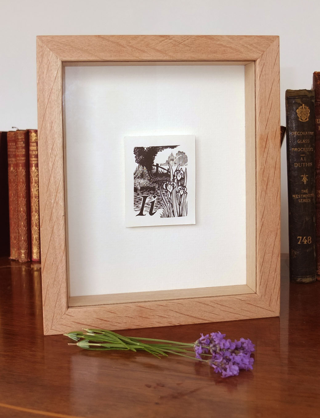 I for Iris Float mounted and framed Wood Engraving by Keith Pettit