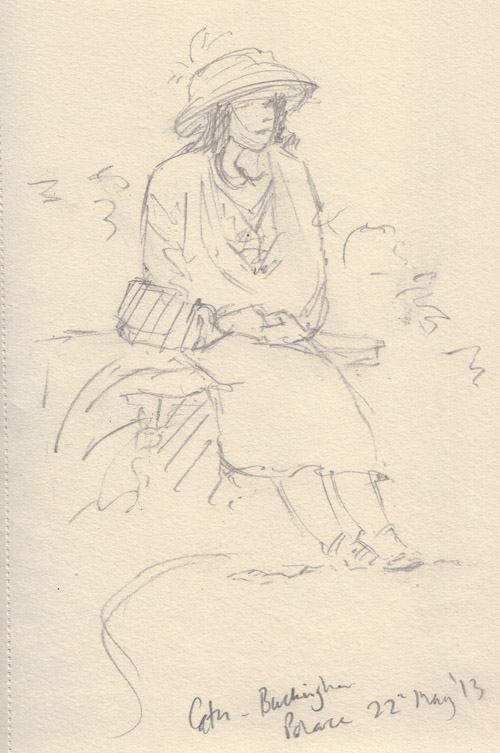 Catherine at buckingham palace, sketch by keith pettit