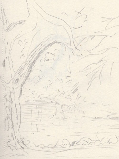 Pulhamite stones at buckingham palace lake, sketch by keith pettit