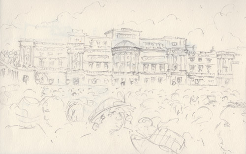 waiting for the royal party, buckingham palace lawns - sketch by keith pettit